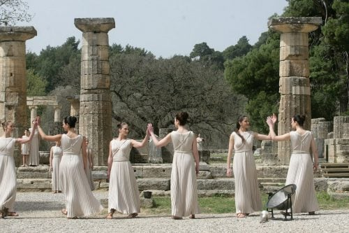 Lighting Ceremony of the Olympic Flame at Ancient Olympia, Greece