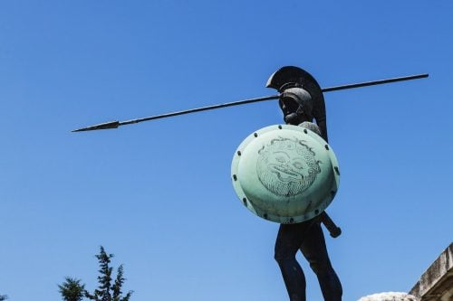 The statu of the Spartan king Leonidas at Thermopylae