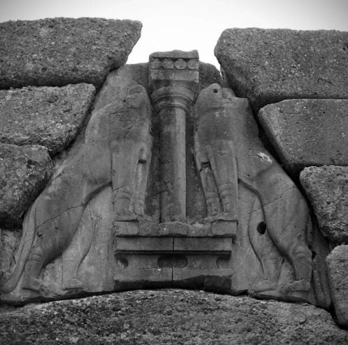 The lions gate in Mycenae, Greece