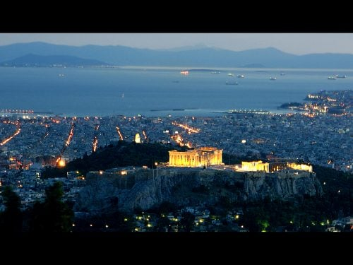 Athens by night from Lycabettus hill