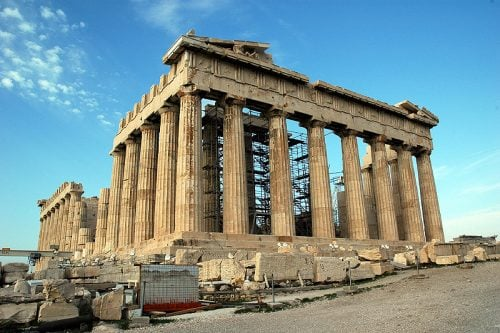 The Parthenon of the Acropolis in Athens, Greece