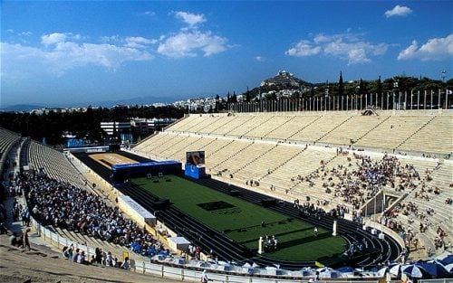 The Marathon finish at Panathinaikon stadium in Athens