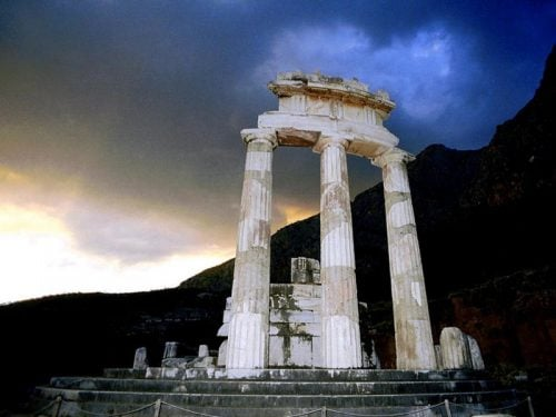 Athens Pronea temple in Delphi Greece