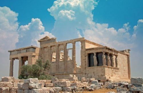 The Erechtheion and Caryatides at the Acropolis in Athens Greece