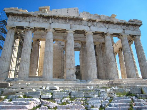 The Parthenon of the Acropolis in Athens, Greece