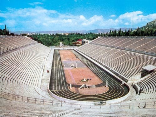 The Panathenian Kallimarmaro Olympic stadium in Athens Greece