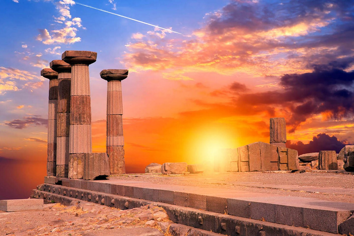 Sunset at cape Sounion, Athens